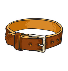 Pet cat dog brown leather collar with metal vector
