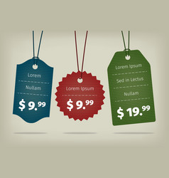 Realistic EPS10 hanging cardboard pricing vector image vector image