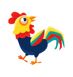 Rooster cartoon character walking around cock vector