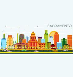 Sacramento usa skyline with color buildings and vector