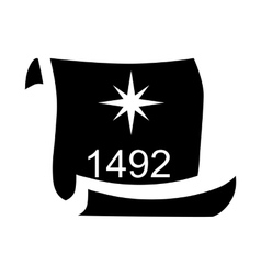 Scroll with date 1492 of Columbus day icon vector image vector image