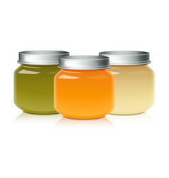 Set of glass jar mock up for baby food puree vector