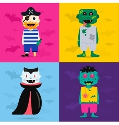 Set of halloween costume characters vector