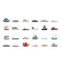 Ship icon set flat style vector