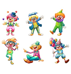 Six different clown costumes vector image vector image