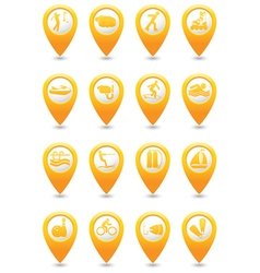 Sport And Vacation Icons On yellow Map Pointers vector image