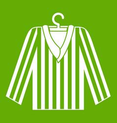 Striped pajama shirt icon green vector