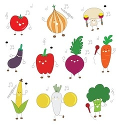 veggies color cute character with music instrument vector image vector image