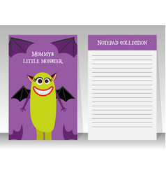 violet notebook template with cute monster vector image