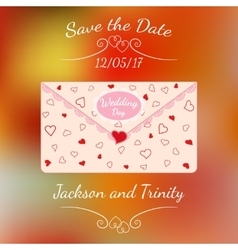 Wedding letter with lace and texture of hearts vector