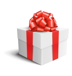 White Celebration Gift Box with Red Bow Isolated vector image vector image