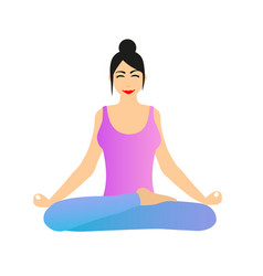 woman sitting in lotus yoga position vector image
