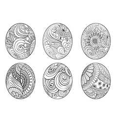 Zentangle easter eggs for coloring book for adult vector image vector image