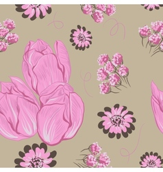 tulips Seamless flowers pattern vector image