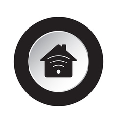 Round black white button - house with signal icon vector