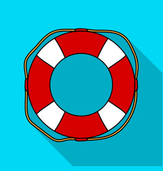 Lifebuoy icon in flate style isolated on white vector