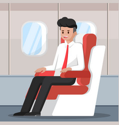 Businessman sitting and relax on the plane vector