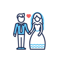 Groom and bride - modern line design icon vector