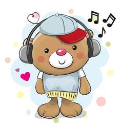 Cute cartoon teddy bear with headphones vector