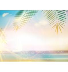 Palms on empty idyllic tropical sand beach vector