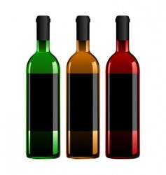 three wine bottles vector image