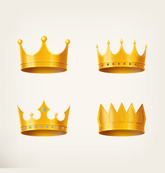 3d golden crown for queen or monarch king vector image