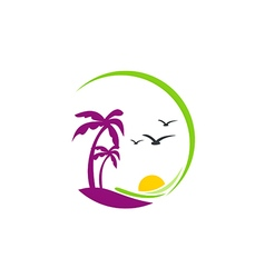 Beach palm tree sunset tropic logo vector