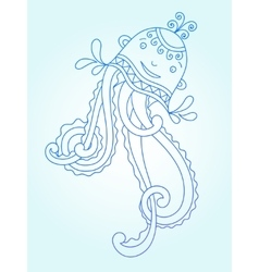 Blue line drawing of sea monster underwater vector