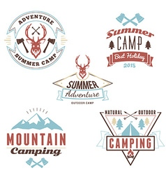 Set of retro vintage summer camping badges vector