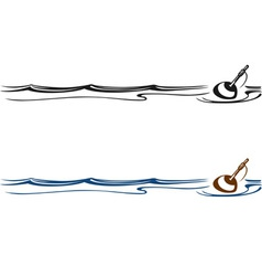 Fishing float in water vector