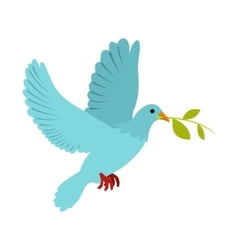 Dove of peace flying with a green twig olive icon vector