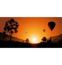 Hot air ballon ride during sunset vector