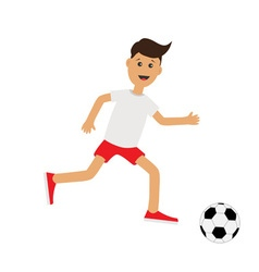 Funny cartoon running guy with soccer ball vector