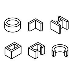 Line metal profilies icons set vector