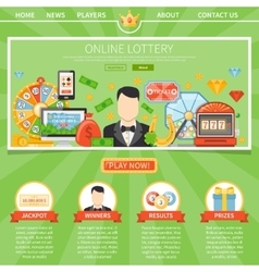 Lottery and jackpot one page template vector