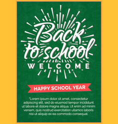 Back to school card with label on green chalkboard vector