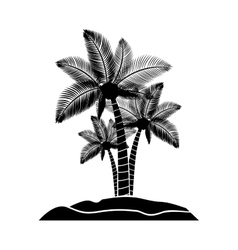 Black silhouette island with palm trees vector