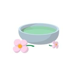 Bowl with spa liquid cartoon icon vector
