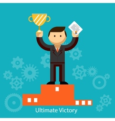 Businessman winner with certificate and trophy vector image vector image