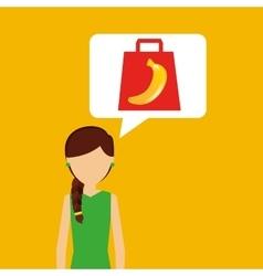 Cartoon girl shopping banana fruit icon vector