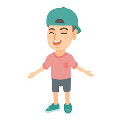 caucasian cheerful boy in a cap laughing vector image