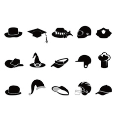 Collection of various black hat silhouettes vector