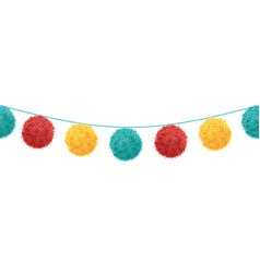 colorful vibrant birthday party pompoms set vector image vector image