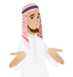 Confused muslim businessman shrugging shoulders vector