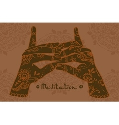 Element yoga Stairway Heaven Temple mudra hands vector image