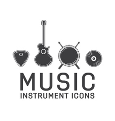 Gray music instrument icons collection vector image