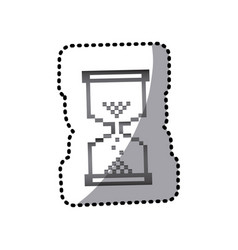 Grayscale pixel hourglass icon vector