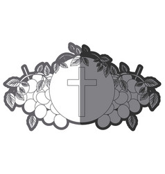 Grayscale silhouette of communion religious icons vector