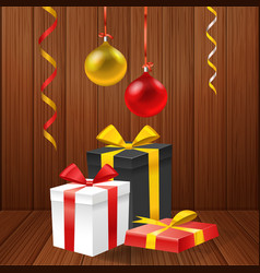 Greeting card with gift boxes vector