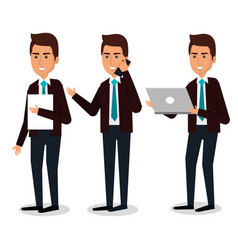 Group of businessman teamwork with laptop vector